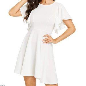 Romwe White Flutter Sleeve Swing Dress - Sz L